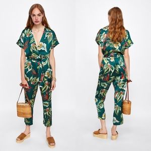 Zara Floral Surplice Long Sleeve Jumpsuit